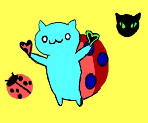Catbug holds 2 hearts