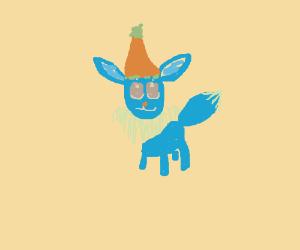 realistic eevee in birthday hat