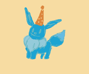 Blue Eevee with Orange Party Hat