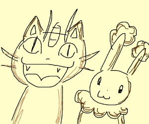 Meowth and Bunnelbee