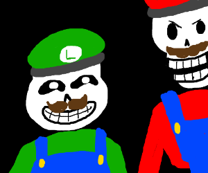 Sans dresses as Luigi, while Papyrus as Mario