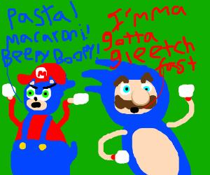 Mario Dressed as Sonic, Sonic as Mario