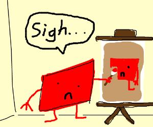 depressed square wistfully daubs self portrait