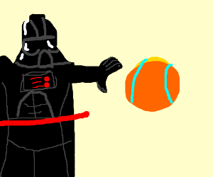 Darth vader using the force on samus aron