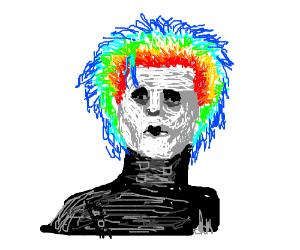 Edward ScissorHands has rainbow hair.