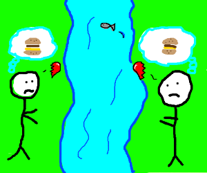Burger lovers separated by river