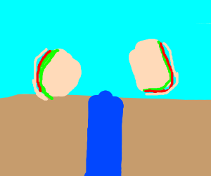 water between two sandwiches