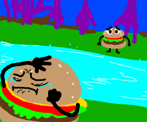 Two burgers tragically separated by a river