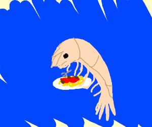 shrimp eats spaghetti