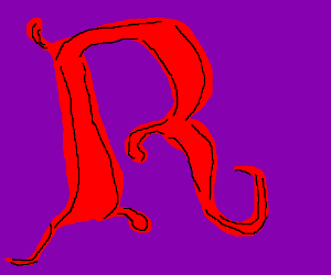 Fancy Red R With Purple Backround