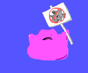 Ditto is on strike against Rhydon.