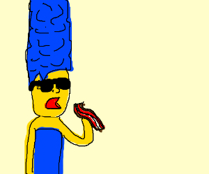 Realistic cool Marge Simpson eats bacon