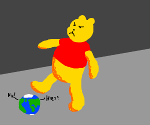 Angry Pooh steps on earth speaking languages