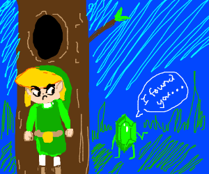Link is annoyed when green rupees find him