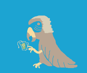 Parrot in a powdered wig drinks matcha green tea