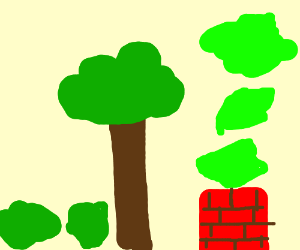 Bushes next to tree/chimney with green smoke