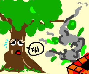 tree next to chimney blowing toxic smoke