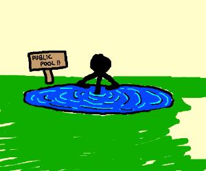 Black man at the public pool