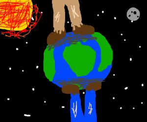 Two giants walking on the globe
