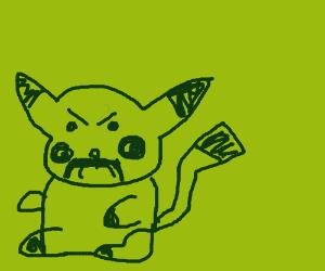 angry Pikachu w/ moustache