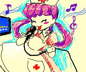 Cute nurse does karaoke