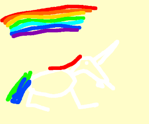 A terrible chalk drawing of a unicorn