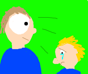 person w/ very large eye stares at crying kid