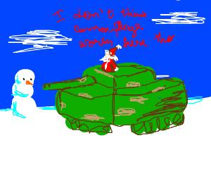 santa riding a tank