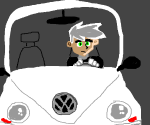 Danny Phantom in a white Volkswagen.