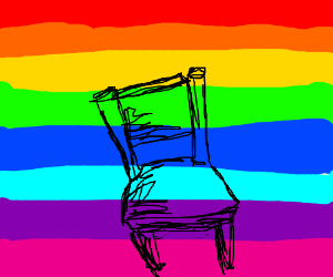 chair with rainbows