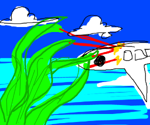 giant green hair attacks plane with lazer