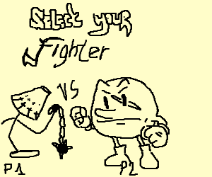 Select your fighter (player1: Lamp, p2 pacman)