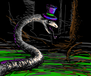 snake with a hat