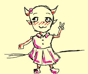 kawaii satan in a dress