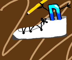 Le drawception D inside of one the white shoes