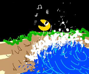 Pacman sings into a mic as wave hits