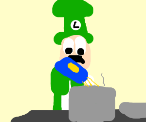 Luigi makes the spagettis