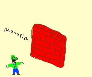 brick wall, luigi trying to climb it