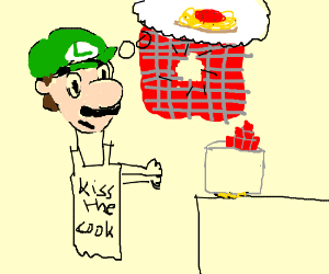 Luigi confuses wall with pasta