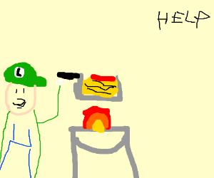 Luigi cooking spaghetti