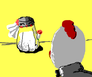 A chicken and a salt shaker get married