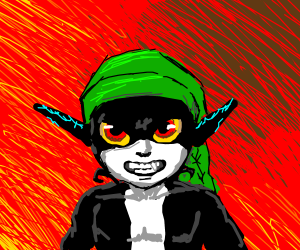 Manly face Midna is wearing Link's hat