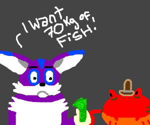 Fat Purple Cat Buys Something From Crab