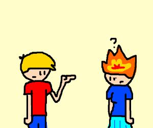 Man subtly tells girl that her fire is showing