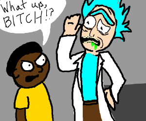 African American Morty says Hi to Rick.