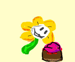 Flowey is eating a cupcake