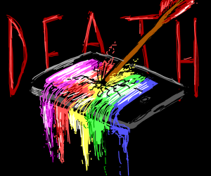 Iphone dies, bleeds rainbows
