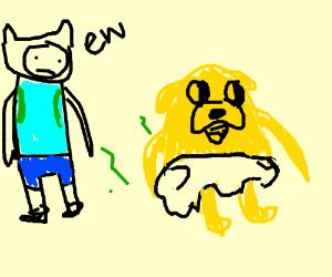 finn gets a whiff of jake's full diaper