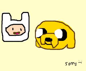 jake in a diaper and finn is grossed out