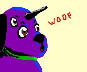 3eyed purple uni-dog barks